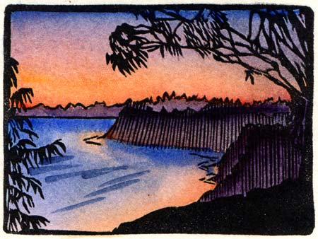 Woodcut print by Santa Barbara, California artist John Rindlaub. See name text earlier on this same line for image subject matter